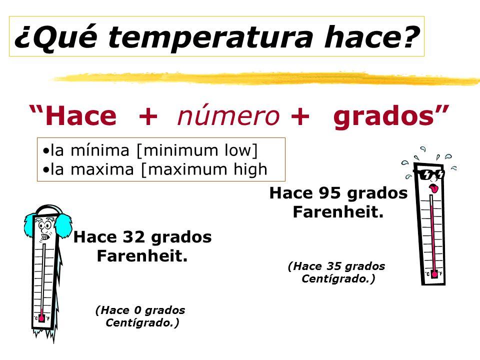 ¿Qué temperatura hace Hace + número grados •la mínima [minimum low]